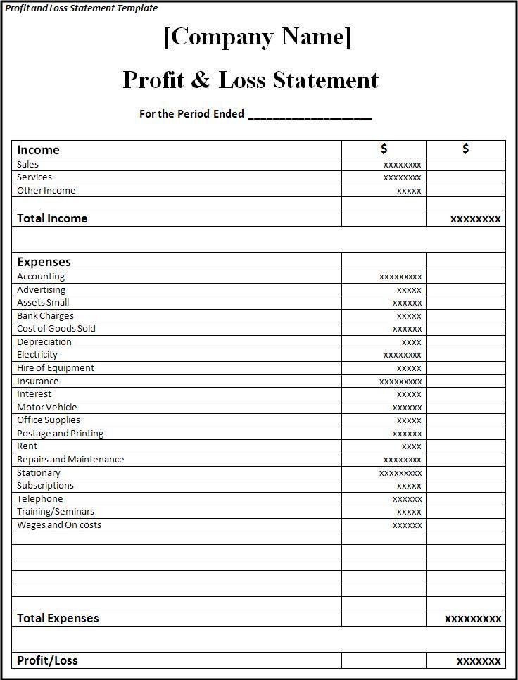 Profit and Loss Statement Template - Word Excel Formats