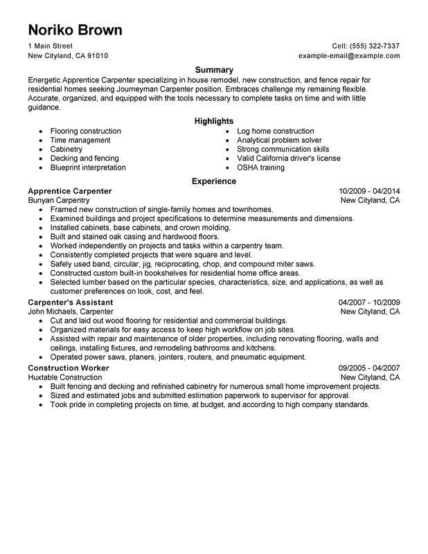 Download Carpenter Resume Objective | haadyaooverbayresort.com