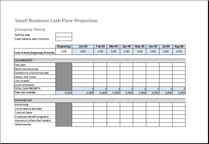 Cash Flow Forecast Template for MS Excel | Excel Templates