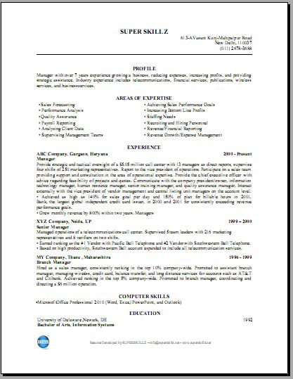 indian resume format for freshers it resume cover letter sample ...