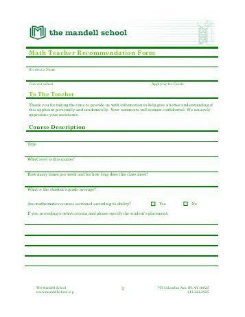Math Teacher Recommendation Form - Tallulah Falls School