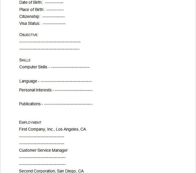 Cool Idea Blank Resume 8 40 Blank Resume Templates Free Samples ...