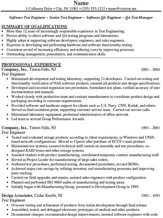 test manager resumes