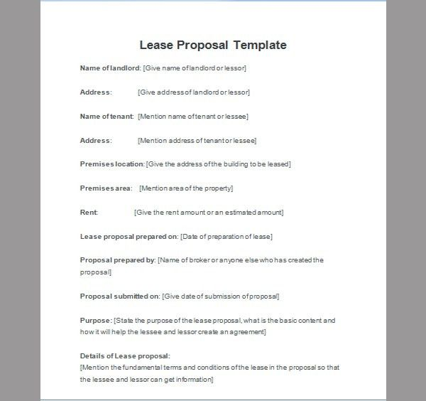 Lease Proposal, Template of Lease Proposal | Sample Templates
