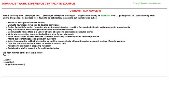 Journalist Work Experience Certificate