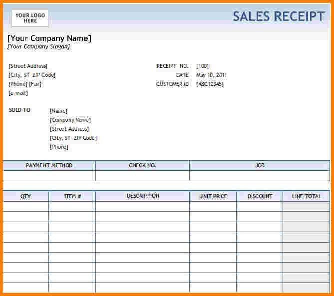 7+ Excel Receipt Template | Receipt Templates