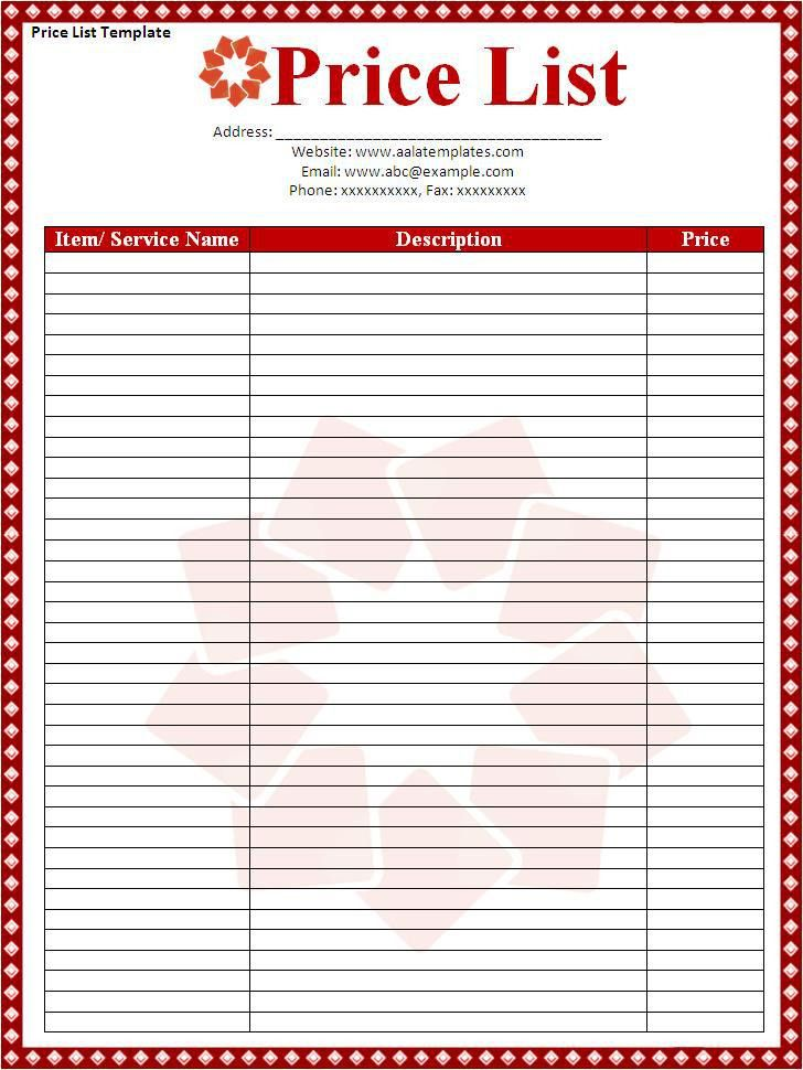 Price List Template Download Page | Word Excel PDF