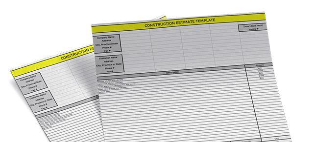 Construction Estimate Template - Free Excel Download