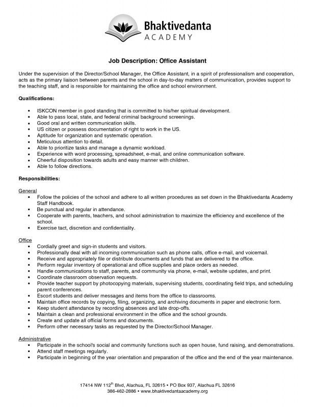 Office Assistant Job Description Resume | Samples Of Resumes
