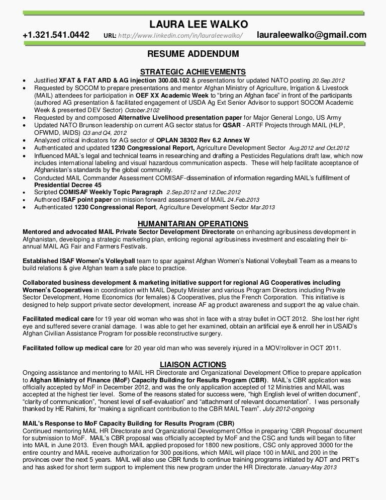 RESUME ADDENDUM strategic achievements summary WALKO(JAN2015)