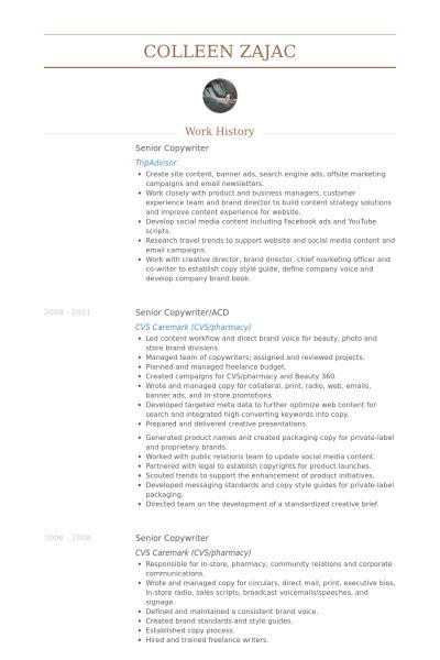 Senior Copywriter Resume samples - VisualCV resume samples database