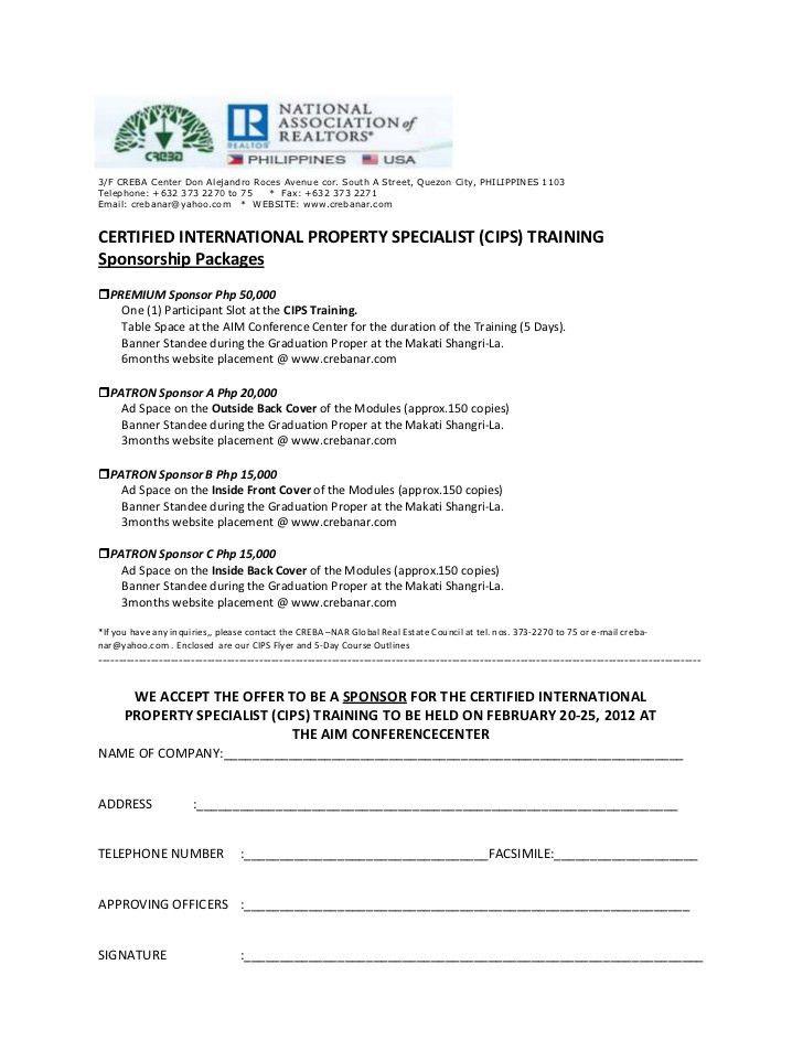 Cips Sponsorship letter Template