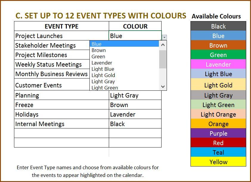 calendar templates excel