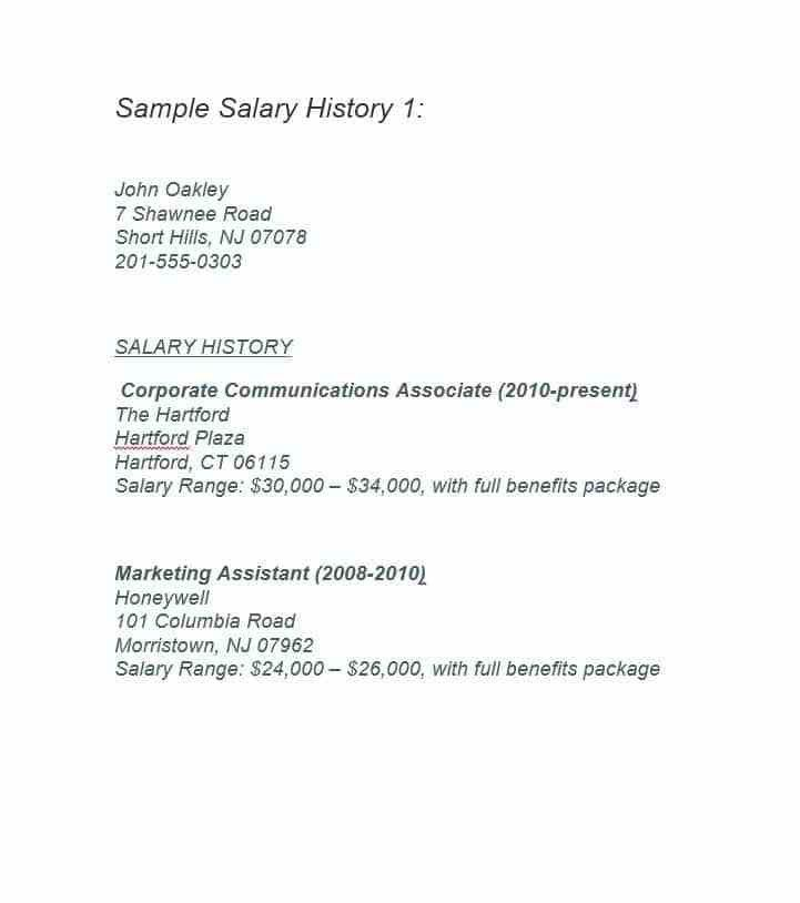 19 Great Salary History Templates & Samples - Template Lab