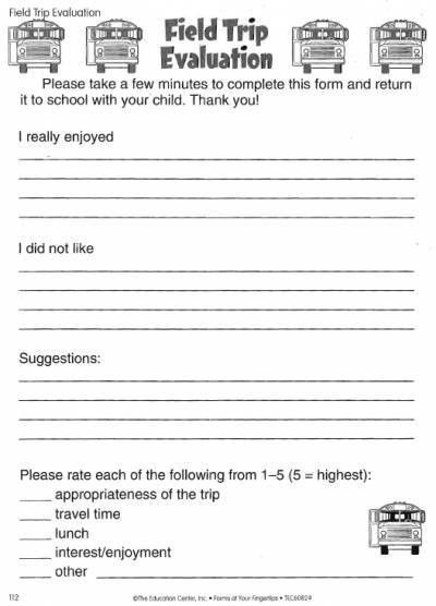 Field Trip Evaluation Form | LoveToTeach.org | Free Printable ...