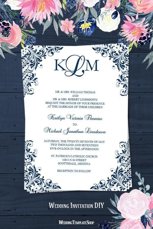 Kaitlyn Wedding Invitation Navy Blue - Wedding Template Shop