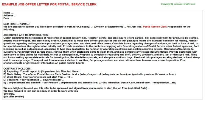 Cover Letter For Usps Job