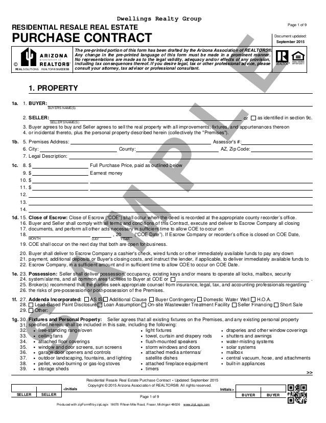 Blank Arizona Real Estate Purchase Contract (Residential Purchase Con…