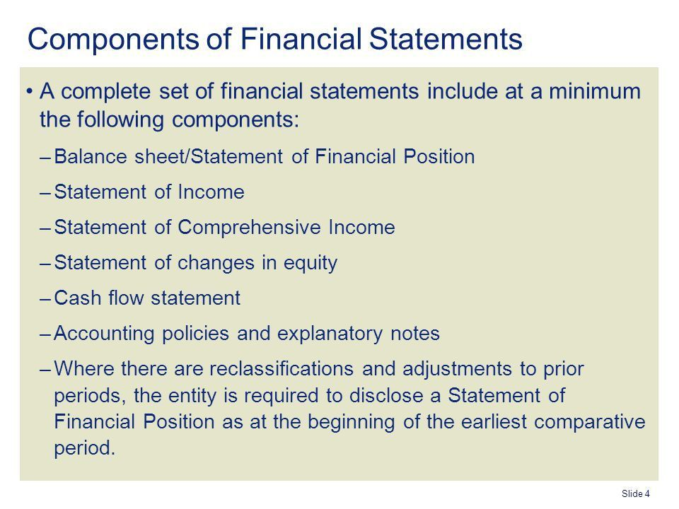 Agenda Objective of the Standard Components of Financial ...