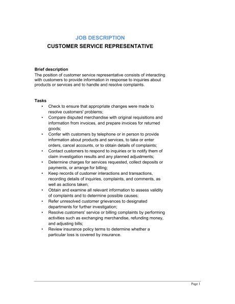 Customer Service Representative Job Description   Template .