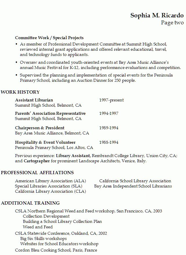 Librarian Resume Examples] Resume For A Librarian In An Academic ...