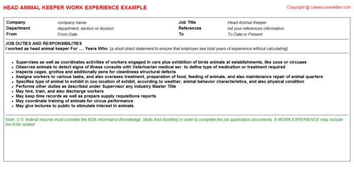 Animal Breeder CV Work Experience Samples