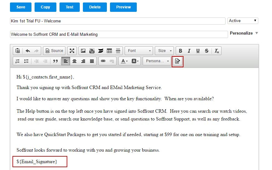 Add Email Signature to Sales Templates | Soffront CRM Help Center