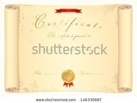 Scroll Certificate Completion Template Sample Background Stock ...