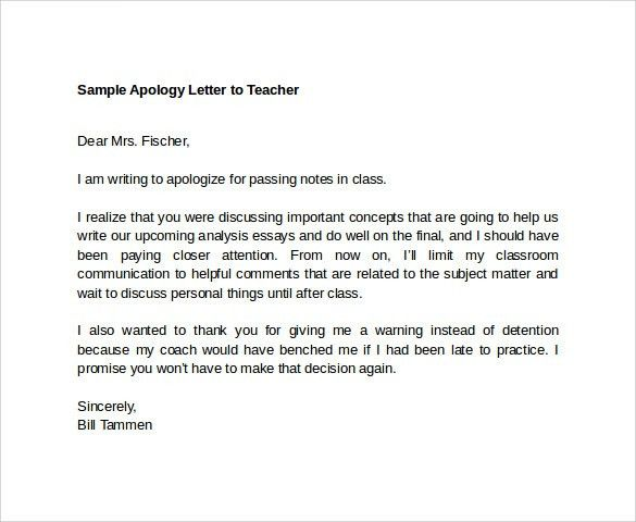 Sample Apology Letter to Teacher - 7+ Download Free Documents In ...