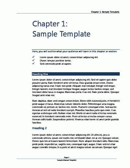 work instruction manual template