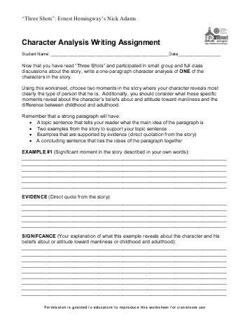 Wonder Character Sketch Assignment Sheet and Rubric