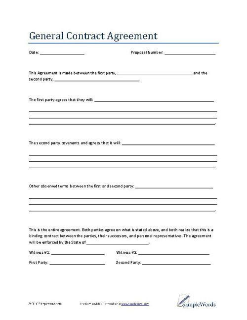 Proposal Contract Template. Contractor Work Proposal Template ...