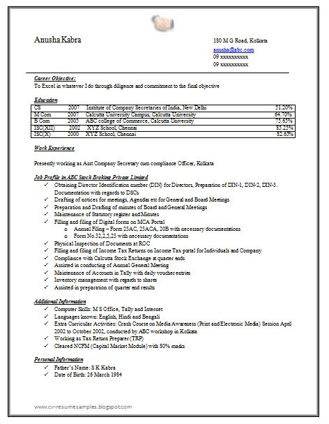 Company Secretary Resume Sample Doc | Career | Pinterest | Company ...
