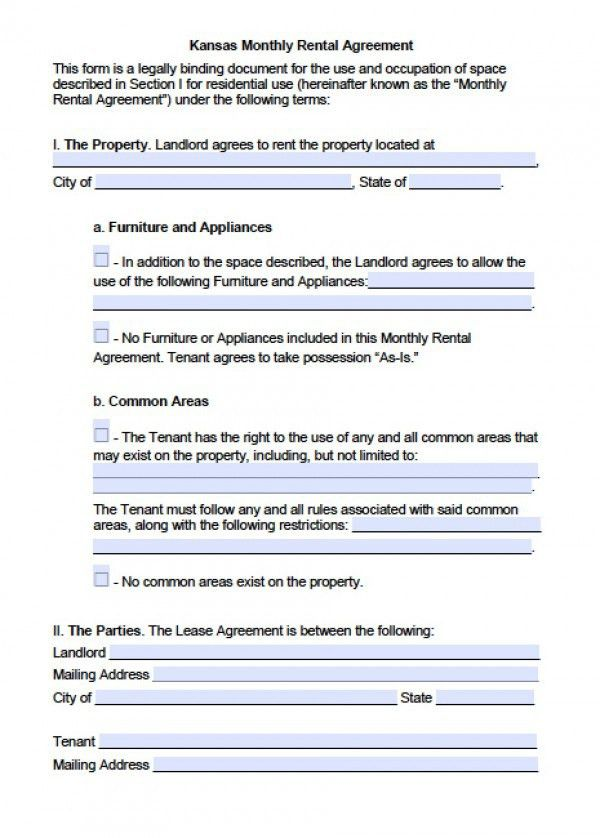 Free Kansas Month to Month Lease Agreement | PDF | Word (.doc)