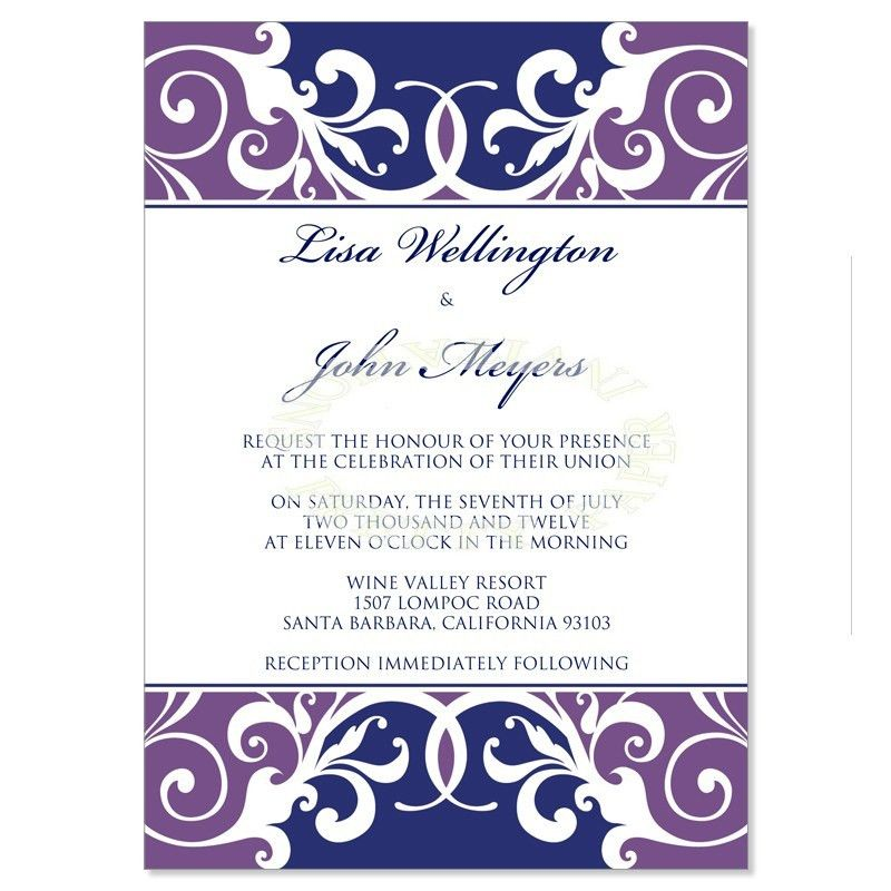 Purple & Blue Wedding Invitation Templates - Jordana Plum Do It ...
