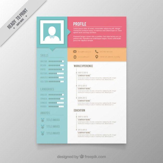 Colors resume template Vector | Premium Download