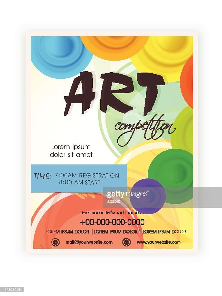 Template Brochure Or Flyer Design For Art Competition Vector Art ...