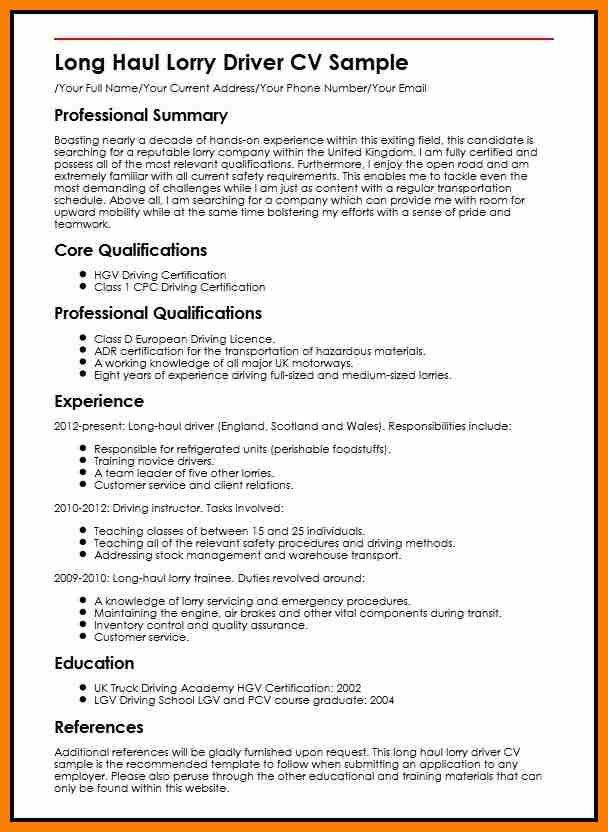8+ driver cv format word | resume pictures