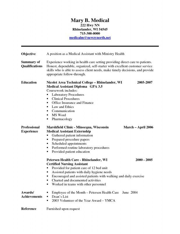 Medical Assistant Resume. Entry Level Medical Assistant Resume ...