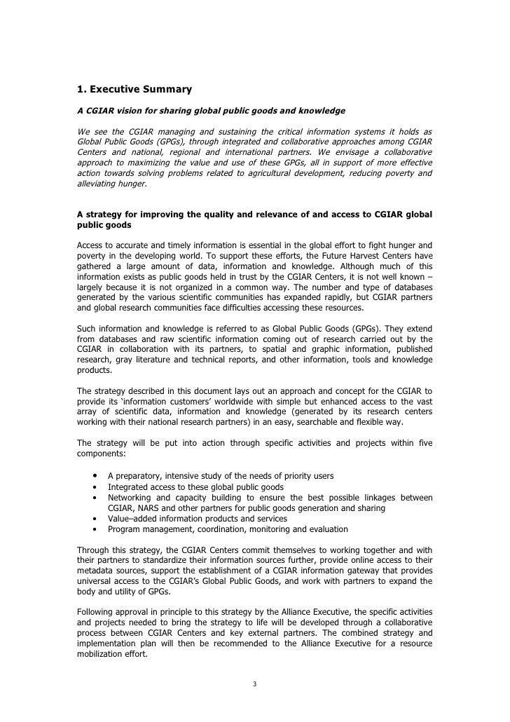 Rehabilitation of CGIAR Global Public Goods: Information