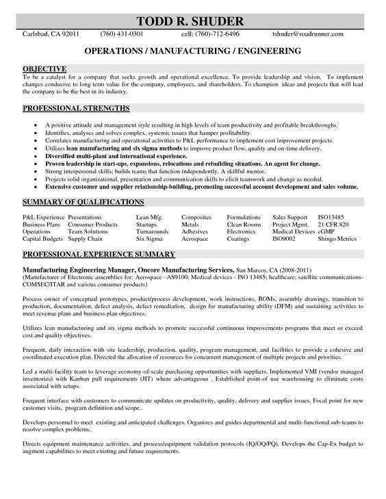 Manufacturing Engineer Resume Examples (Experienced) | Creative ...