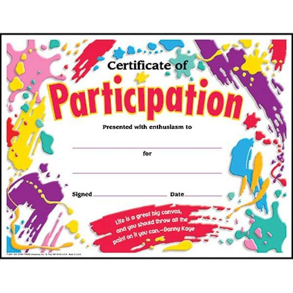 30 Children's Certificates of Participation - Splash design pack ...