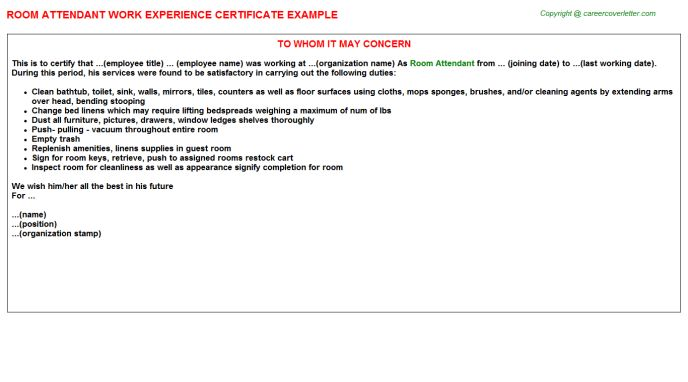 Room Attendant Work Experience Certificate