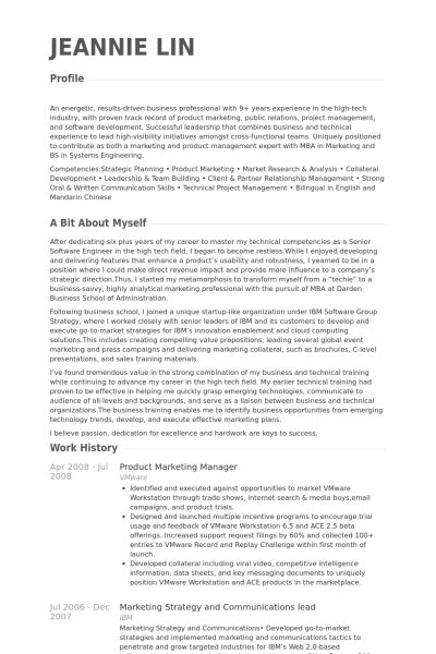 Product Marketing Manager Resume samples - VisualCV resume samples ...