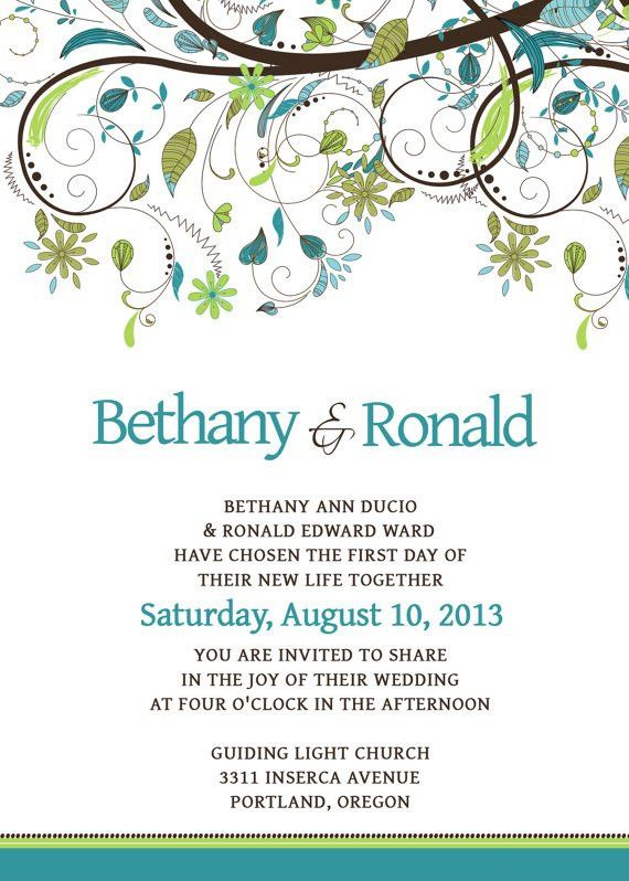 Wedding Invitation Template Set - PSD - Photoshop - Whimsical ...