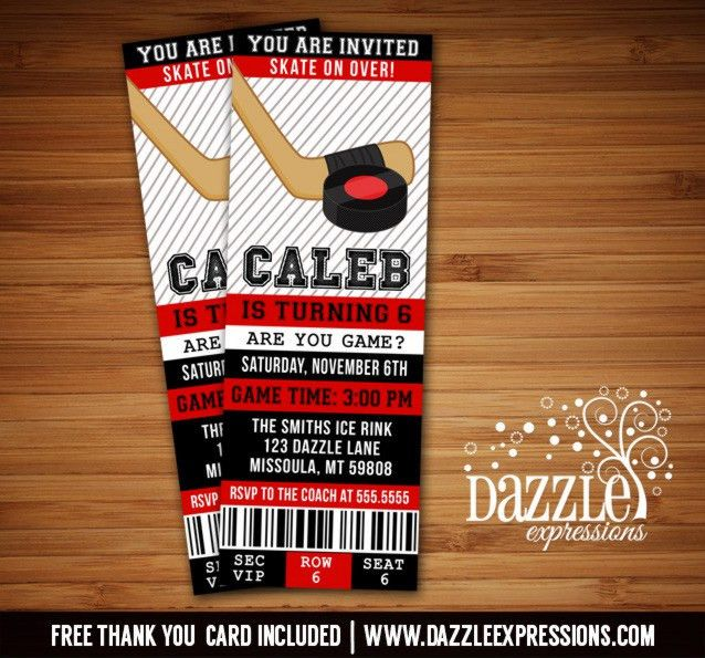 Printable Hockey Ticket Birthday Invitation - Boys Skating Invite ...