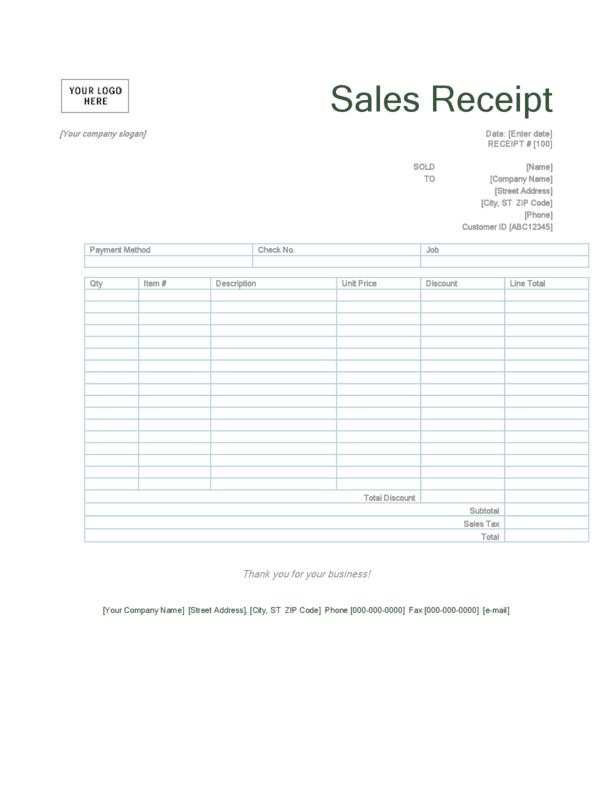 Sales Receipt Template 2 | LegalForms.org