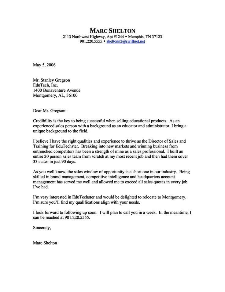 Retail Sales Cover Letter Example for Sales Cover Letter Examples ...