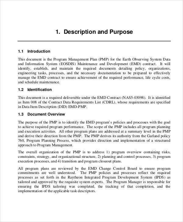 Program Management Plan Sample - 8+ Examples in Word, PDF
