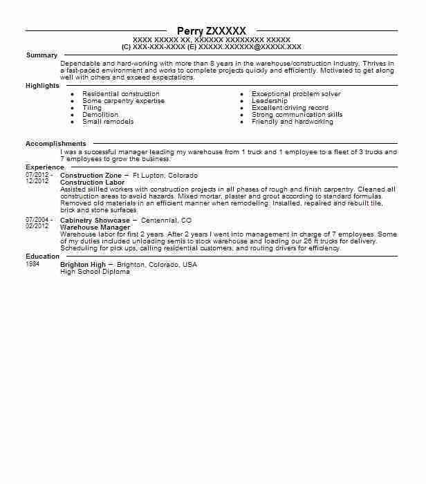 Best Construction Labor Resume Example | LiveCareer